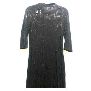 Enfocus Studio Black Long Sleeve Sequin Dress Sz 8